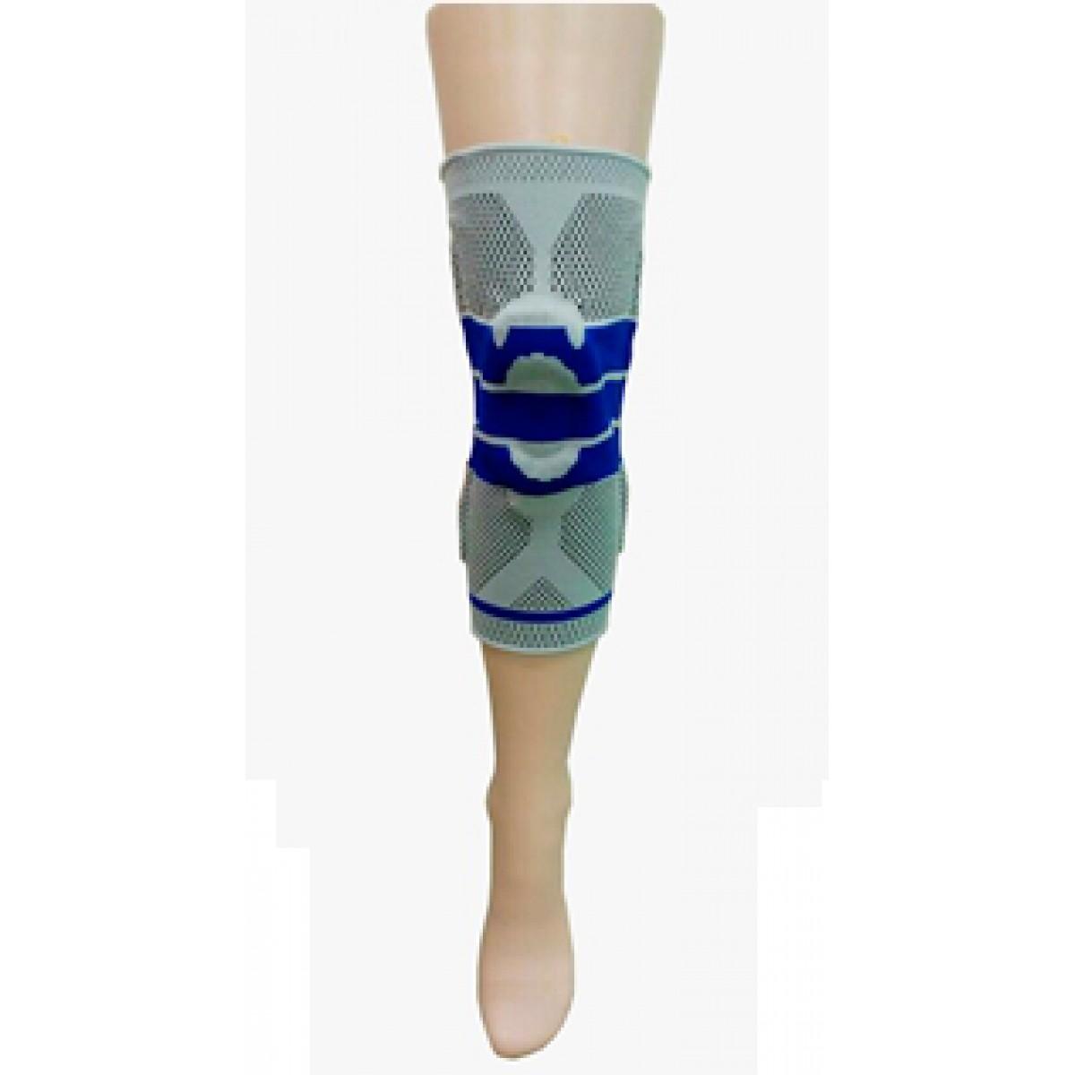 Фиксатор коленного сустава с силиконовыми кольцами  и боковыми пластинами. Размер S (диаметр обхвата коленной чашки - 15 см), M( 17 см), L (19 см)