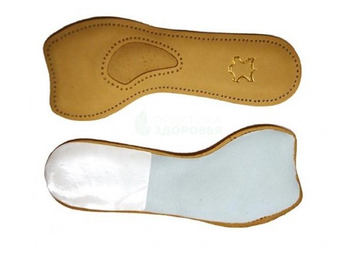 Полустелька кожаная для женской обуви с каблуком 5-7 см. Беж. Универсальный р-р.
